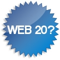 Badge with text 'web 2.0?' on it